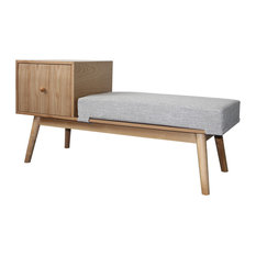 GDF Studio Andrew Mid Century Faux Wood Storage Bench, Cement Heathered Tweed/Na