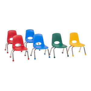 "Factory Direct Partners 10"" School Stack Chair Ball Glide, 6-Piece, Assorted"