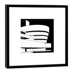 Framed Guggenheim New York Graphic Print, Black, 27x27 cm
