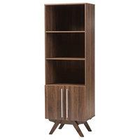 Ashfield Mid-Century Modern Bookcase, Brown