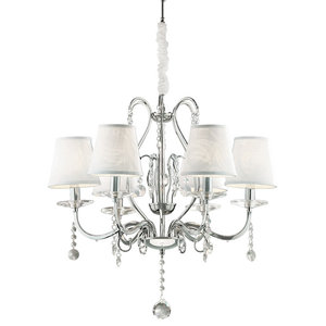 Ideal Lux Senix Chrome and Crystal 6-Light Chandelier