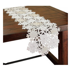 "Shimmer Snowflake Embroidered Collection Cutwork Table Runner, 15""x54"""