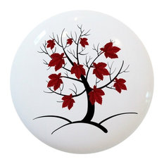 Red Abstract Tree Ceramic Cabinet Drawer Knob