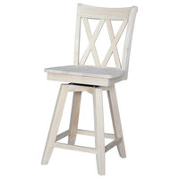 """Double """"X"""" Back Counter height Stool  Swivel And Auto Return  24"""" Seat Height"""