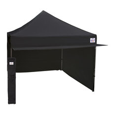 10'X10' Aluminum And Steel Instant Ez Up Canopy, Enclosed With Awning, Black
