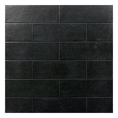 "Piston Camp Canvas 4""x12"" Ceramic Subway Tile, Black, Black Rock"