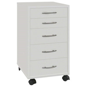 Contemporary Chest of Drawers in Melamine Wood with Castor Wheels and 6 Drawers