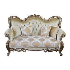 European Furniture - Tiziano Luxury Loveseat In Gold & Antique Silver - 38994-L
