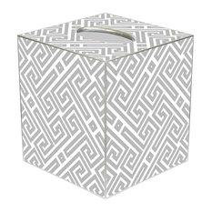 TB2654 - Grey & White Fret Pattern Tissue Box Cover