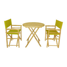 Director Round 3-Piece Table Set, Olive Green