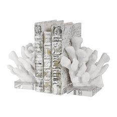 Luxe White Faux Coral Sculpture Bookends 2-Piece Set, Crystal