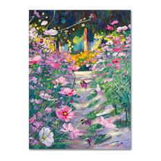 David Lloyd Glover 'Garden Path of Cosmos' Canvas Art, 24x32 by Trademark Fine Art