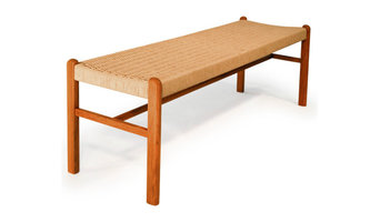 Teak bench with rope seat