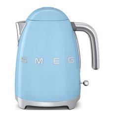 Smeg 50's Retro Style Tea Kettle With Embossed Logo, Pastel Blue