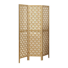 Monarch Specialties   3 Panel Lantern Design Folding Screen, Gold   Screens  And Room