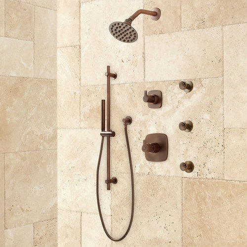 lindstrom high flow shower system with hand shower and body jets showerheads and body sprays