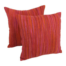 """20"""" Black Throw Pillows  with Rainbow Yarn Threading, Set of 2, Red Palette"""