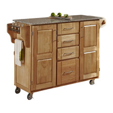 Home Styles   Home Styles Furniture Natural Wood Island Cart With Salt And  Pepper Granite Top