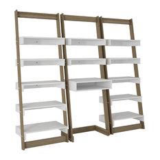 3-Piece Carpina Home Floating Ladder Shelves Office Desk, Oak and White