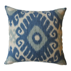 Ikat Decorative Pillow, Shades of Blue/Ivory, With Insert