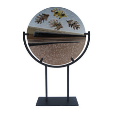 """""""Fallen Season"""" Handcrafted Fused Glass Art Deco Sculpture With Stand"""