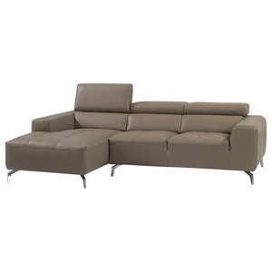 A978B Italian Leather Sectional Sofa, Burlywood, Left Hand Facing Chaise
