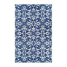 Crawford Tulip Lattice Blue/Ivory Area Rug, 8'x10'