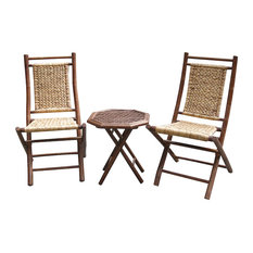Heather Ann Creations   Kauai 3 Piece Outdoor Conversation Set,  Brown/Natural