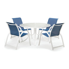 "5-Piece 48"" Round Aruba Dining Set, Gloss White Finish, Cobalt Fabric"