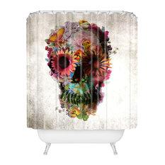 Ali Gulec Gardening Floral Skull Shower Curtain, Standard