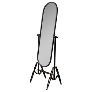 Acme Hare Accent Floor Mirror Silver And Black