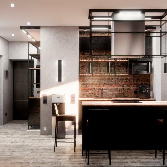 Квартира в Москве в стиле лофт, кухня, холл, санузел, кладовая. 2020 г.