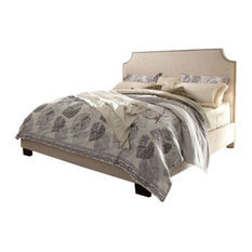Kingston Bed With Nail Head Accent, Desert Sand Linen, Queen