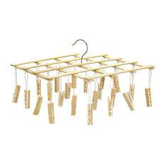 Laundry Bamboo Drying Hanger Rack, 22-Clip, 56x9cm