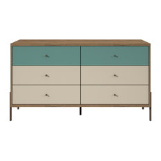 Modern Industrial Display Dresser, 6-Drawer, Chrome Lifted Feet, Blue