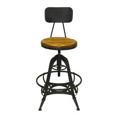 Metal Adjustable Counter Height Stools with Wooden Seat, Black & Black, Set of 2