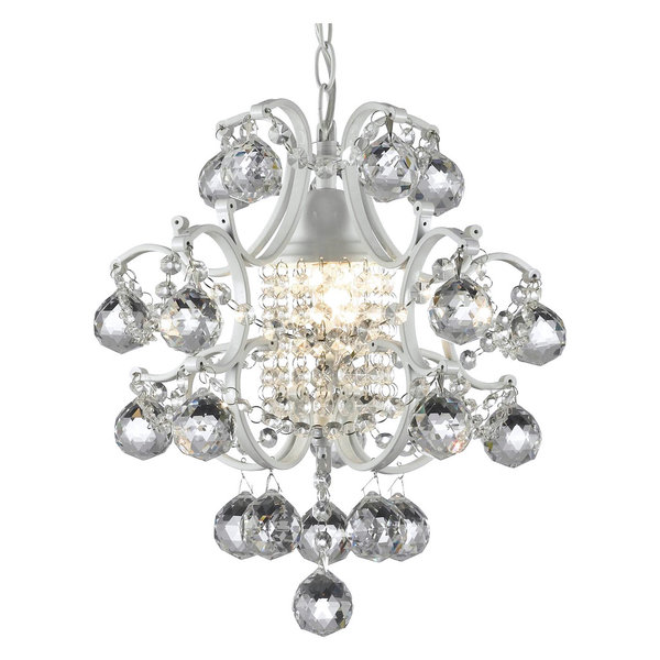 Crystal Chandelier with Large Black Shade & Pink Crystal Stars