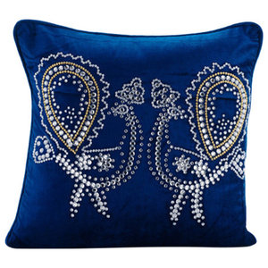 Blue Velvet 50x50 Crystal Dancing Peacock Cushions Cover, Peacock Deco