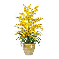 Triple Dancing Lady Silk Flower Arrangement, Yellow