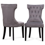 Belleze - Parsons Elegant Tufted Upholstered Dining Chair, Set of 2, Gray - Transform any dining space with the elegance and charm of these beautiful dining chairs. Upholstered in a plush and luxurious fabric, these gorgeous chairs feature solid wooden frames that are just as sturdy as they are stylish. The rich color is perfect pair will match all your existing decor with effortless ease.