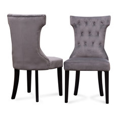 Belleze - Parsons Elegant Tufted Upholstered Dining Chair, Set of 2, Gray - Dining Chairs