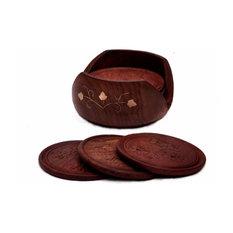 Benzara Handmade Wooden Coasters With Holder In Rosewood, Set Of 6, Brown