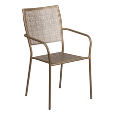 flash furniture gold steel patio arm chair with square back outdoor