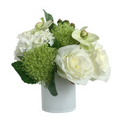 Artificial Silk Roses Floral Arrangement and Decorative Vase