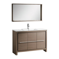 "Fresca Allier 48"" Gray Oak Modern Bathroom Vanity, Mirror"