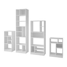 4 Piece Valenca Bookcase Set In White