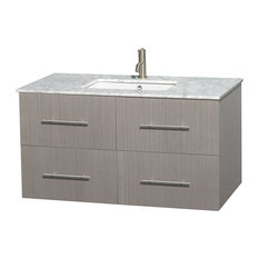 "Centra 42"" Gray Oak Single Vanity, White Carrera Marble Top, Drop-In Square Sink"