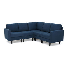 Gdfstudio Carolina Fabric Sectional Couch Dark Blue Sofas