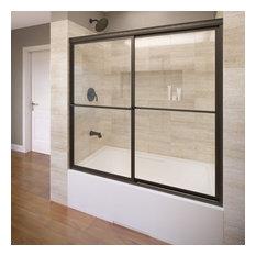 "Deluxe Framed Sliding Bathtub Shower Door, 57-59"", Obscure, Oil Rubbed Bronze"