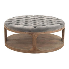 - Marie French Country Round Blue-Grey Tufted Wood Coffee Table - Coffee Tables